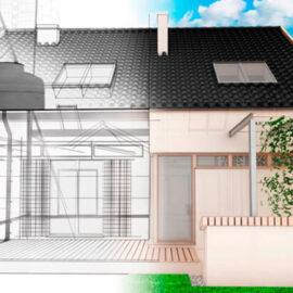 ilustração de uma casa metade construída e metade no desenho projetado mostrando o telhado com caixa dagua